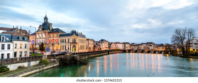 Panorama of Meaux town with the Marne river in Paris region of France