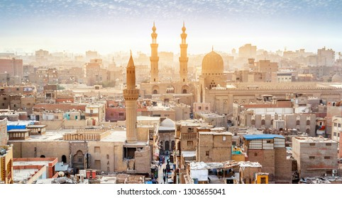 Panorama of the medieval Bab Zuweila gate located in the heart of Islamic Cairo and surrounded by noisy Arab souq (market), on October 12 in Cairo.