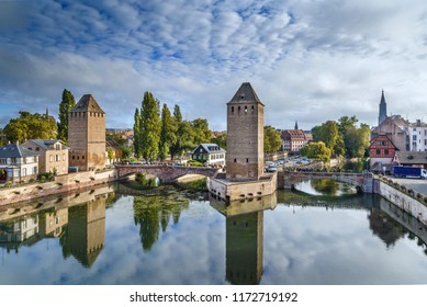 Panorama of  medieval bridge Ponts Couverts from the Barrage Vauban in Strasbourg, France