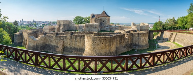 Panorama of medieval ruins of Suceava fortress in Moldavia, Romania. The fortress was built in the late XIV century bt Peter II Musat and it was fortified in XV century by Stephen the Great
