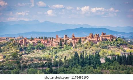 Panorama of the medieval village of Certaldo - Tuscany - Italy