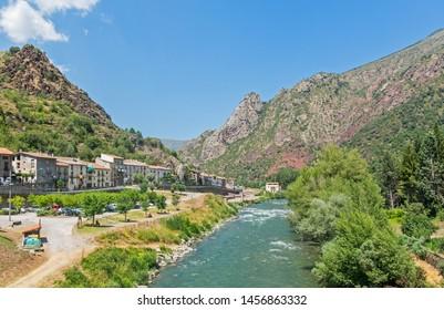 Panorama of the medieval village Gerri de la Sal in Lleida and Noguera Pallaresa river, Catalunya, Spain, Europe