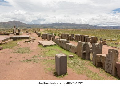Panorama of the megalithic stones with intricate carving in the complex Puma Punku, Bolivia