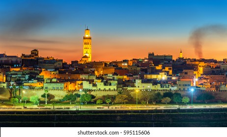 Panorama of Meknes in the evening. UNESCO world heritage site in Morocco