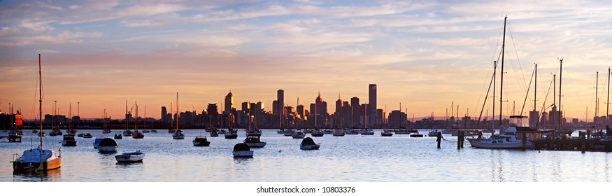 Panorama of Melbourne, Australia, at dawn.  Viewed from Williamstown.  XXL file.