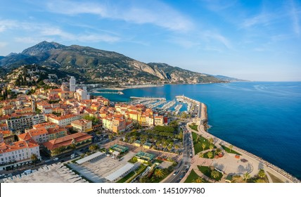 Panorama of Menton, Cote d'Azur, France, South Europe. Nice city and luxury resort of French riviera. Famous tourist destination with nice beach on Mediterranean sea