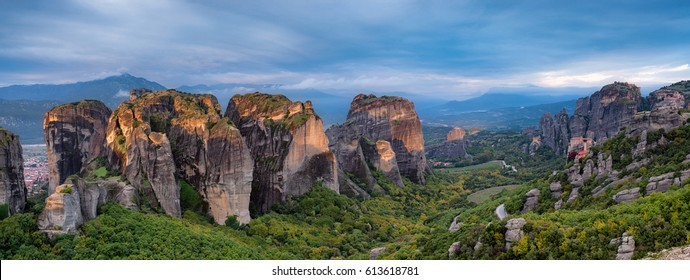 Panorama of Meteora mountains at sunrise