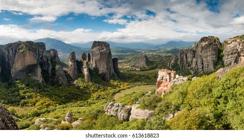 Panorama of Meteora, with Rousanou, Agios Nikolaos, Varlaam and Gran Meteora monasteries, Greece