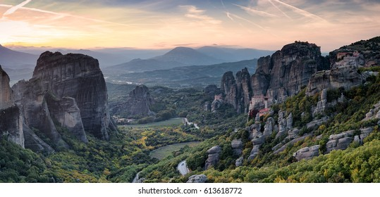 panorama of meteora at sunset