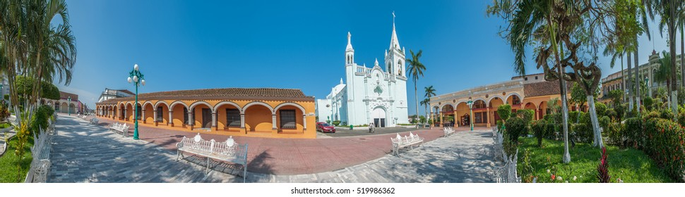 Panorama of mexican colonial town Tlacotalpan, UNESCO World Heritage Site