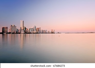 panorama of miami bayfront and cruise port, at approaching dusk