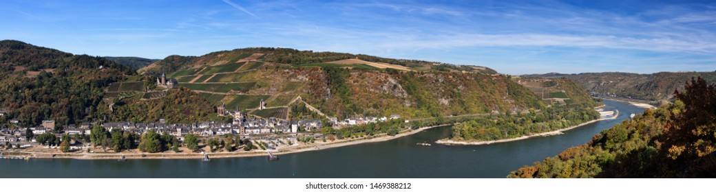 Panorama of the middle rhine valley near Bacharach, Hesse, Germany
