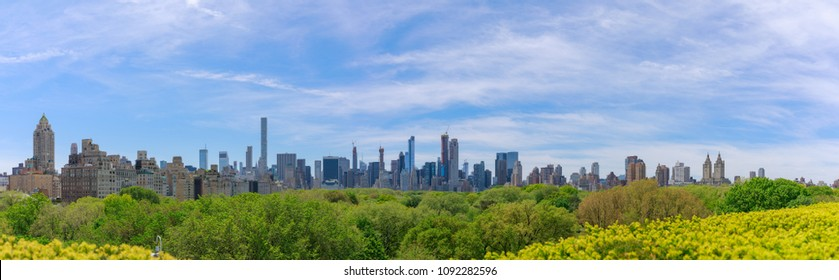 Panorama of midtown Manhattan skyline over central park in sunny day