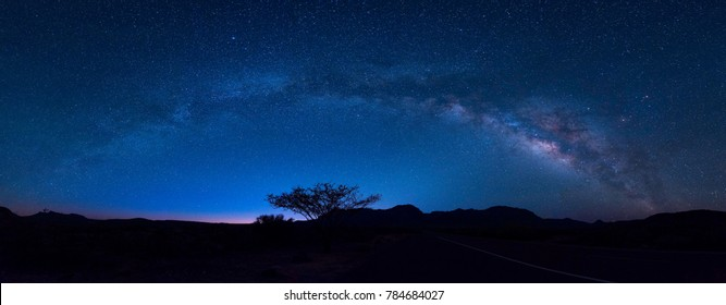 Panorama of milky way in Big bend national park