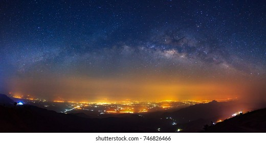 Panorama Milky way galaxy bridge as seen from phutabberk in thailand on a clear summer night.