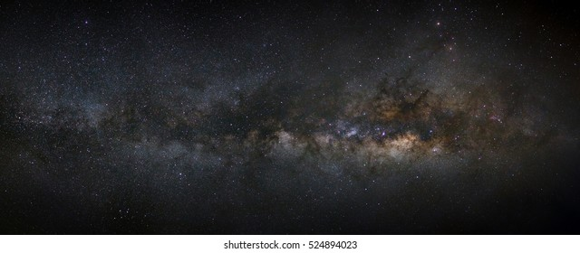 Panorama milky way galaxy with stars and space dust in the universe, Long exposure photograph, with grain, high resolution