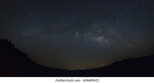 Panorama milkyway galaxy with stars and space dust in the universe