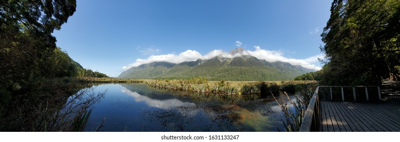 Panorama of Mirror Lakes in South Island New Zealand