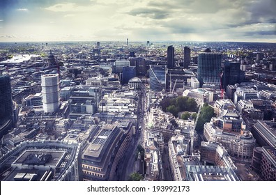 panorama of modern London city from top building