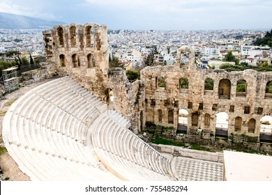 The panorama of the modern part and the ancient greek architectural  heritage taken from the Parthenon temple in Athens, Greece