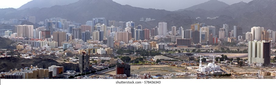Panorama of Modern part of Mecca Saudi Arabia with skyscrapers
