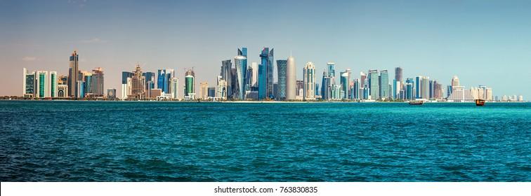 Panorama of modern skyscrapers in Doha, Qatar