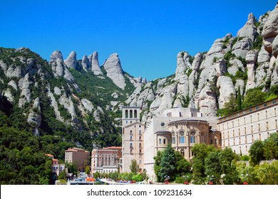 Panorama of the Monastery de Montserrat against background of mountains (Spain)