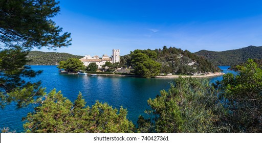 Panorama of Monastery of Saint Mary situated on St Marys Island in Mljet.