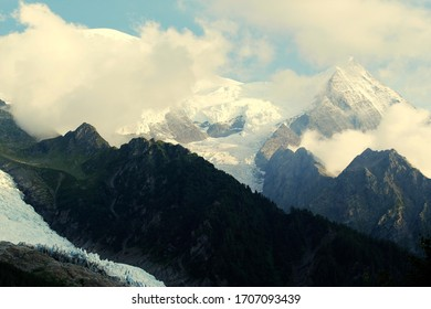 panorama of the Mont Blanc massif in the French Alps