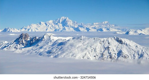 Panorama of the the Mont Blanc over a sea of clouds, the Alps, France