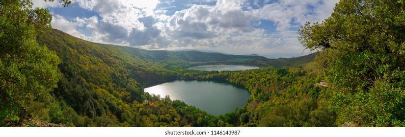 Panorama of Monticchio Lake in Basilicata, Italy.
