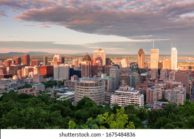 Panorama of Montreal at sunset. Montreal, Quebed, Canada.