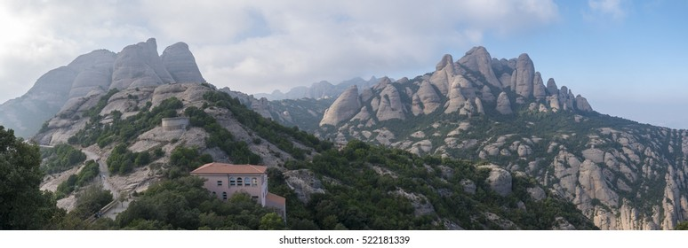 Panorama of the Montserrat Monastery, Santa Maria de Montserrat is a Benedictine abbey located on the mountain of Montserrat nearby from Barcelona. Catalonia. Spain