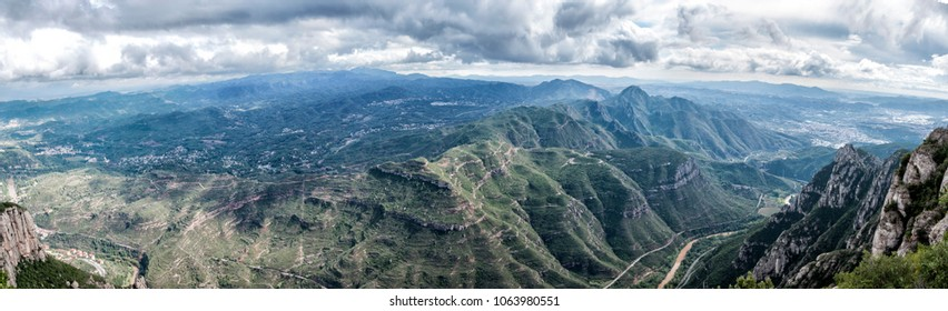 Panorama of Montserrat mountains in Spain