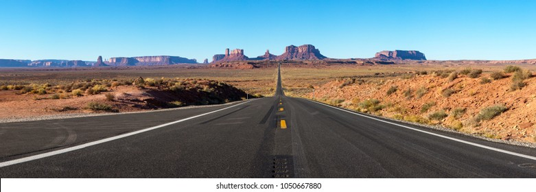 Panorama of Monument Valley with U.S. Highway 163, Utah, USA