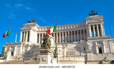 Panorama of the Monument to Vittorio Emanuele in Rome, Italy