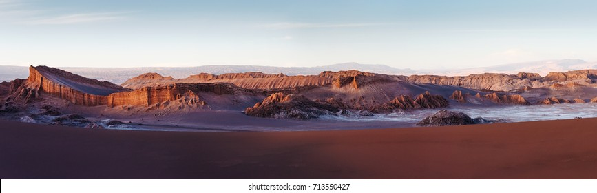 Panorama of Moon Valley in Atacama Desert at sunset, Chile