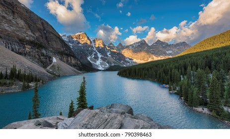 Panorama of Moraine lake in Rocky Mountains, Banff National Park, Canada.