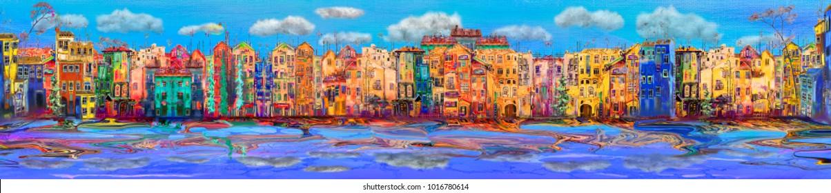 Panorama of morning town near the sea