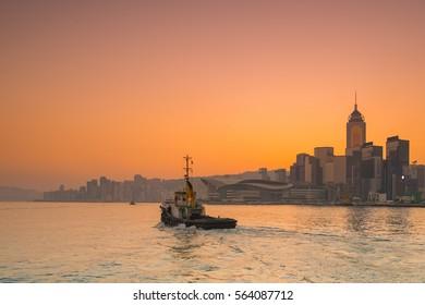 Panorama morning view on Victoria Harbor, Hong Kong