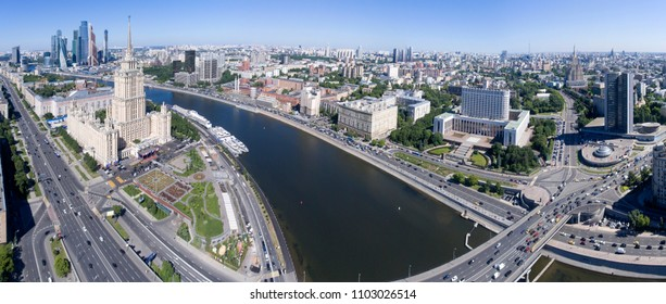 Panorama of Moscow. The House of the Russian Government is from the air. Russia.