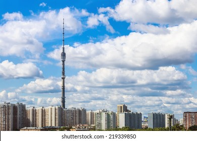 panorama of Moscow with Ostankino TV tower. Russia