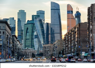 Panorama of Moscow with skyscrapers of Moscow-City at sunset, Russia. Contemporary tall buildings at dusk. Amazing cityscape of Moscow in summer evening. View of the modern urban towers of Moscow.