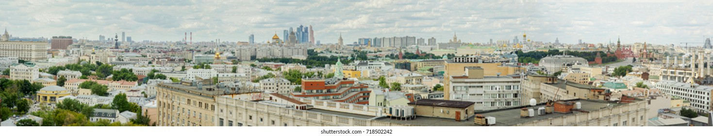 Panorama of Moscow summer view from above