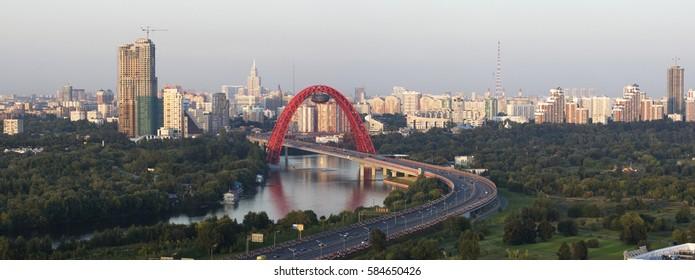 Panorama of Moscow and Zhivopisny Bridge on the Sunset