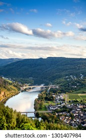 Panorama of the Moselle river in Germany. View of the Moselle river, vineyards on a Sunny day
