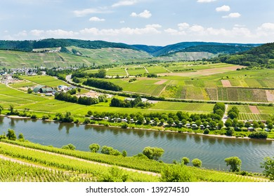 panorama of Moselle valley and Mosel river in summer day, Germany