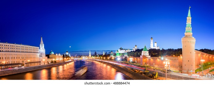 Panorama of the Moskva river with the Kremlin's towers at night, Moscow, Russia