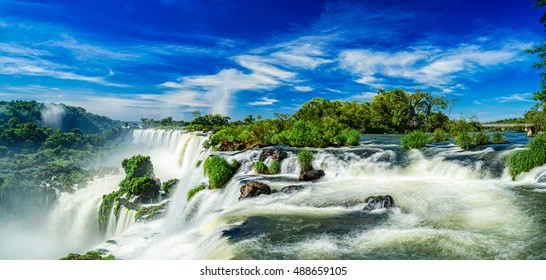 Panorama of the most beatuful Iguazu Waterfall, Argentina