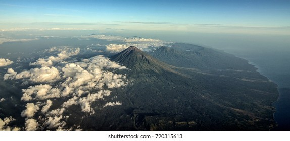 The Panorama of Mount Agung and the East Side of Bali Island.